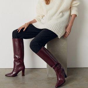 Nwts Mango leather burgundy knee high boots